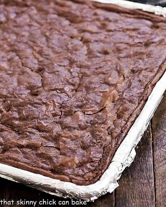 Sheet Pan Brownies in a baking sheet