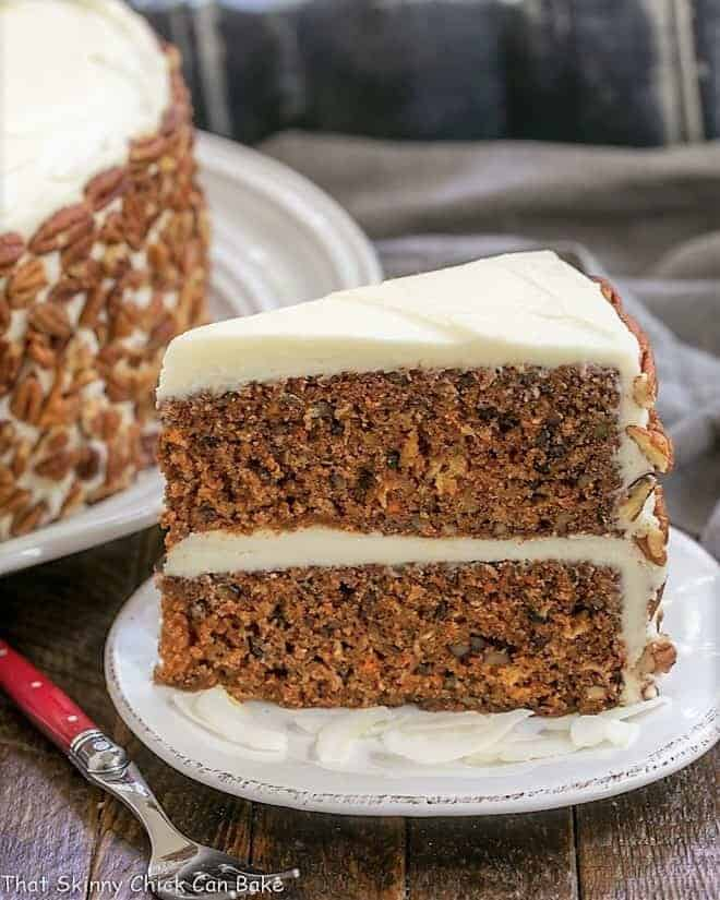 Slice of Classic Carrot Cake on a white dessert plate