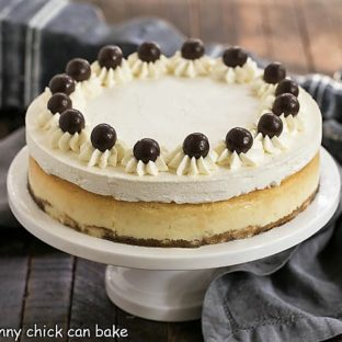 Tiramisu Cheesecake on a white ceramic cake stand