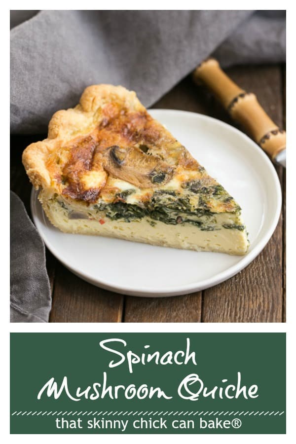 Spinach Mushroom Quiche photo and text collage