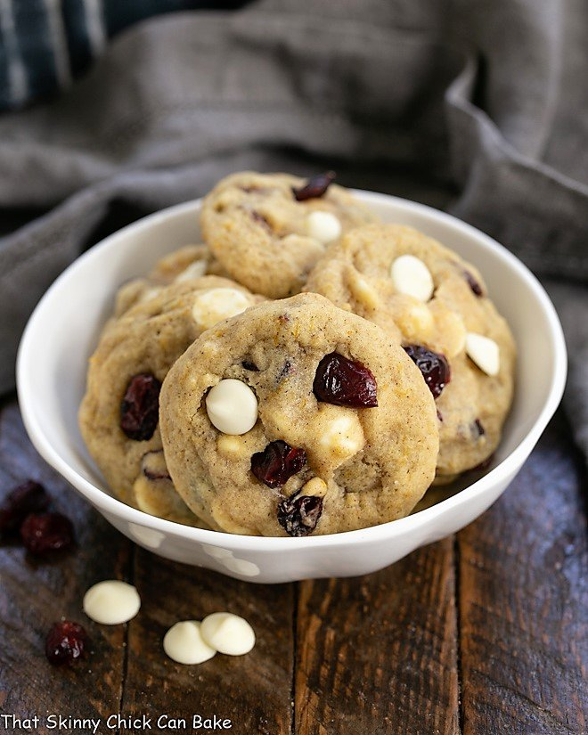 Cranberry White Chocolate Cookies in a white bowl