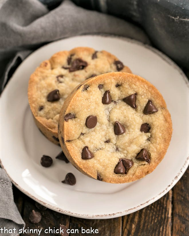 Overhead view of two chocolate chip cookies for one