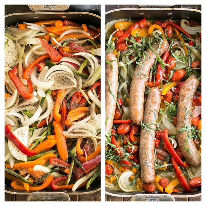 Two photos of sausage and peppers prep